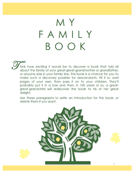 Family tree template family history record template for Ancestry book templates