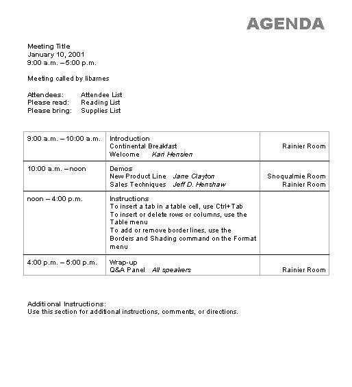 Agenda Wizard