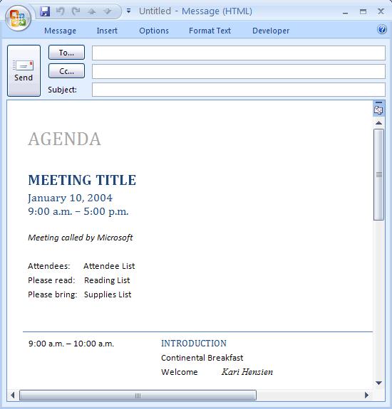 E-mail Message: Meeting Agenda