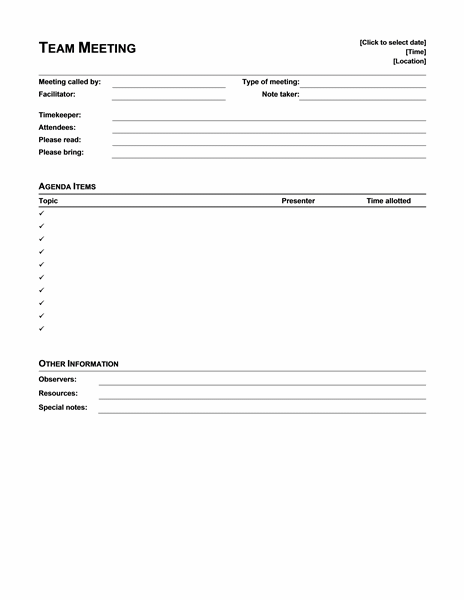 Informal Meeting Agenda Template Free