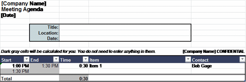 Adjustable Meeting Agenda In Excel Cells Worksheets