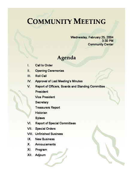 community meeting agenda template – Agenda Samples in Word