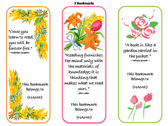 Printable bookmarks with quotes quotesgram for Book marker template