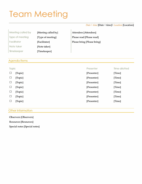 Team Informal Meeting Agenda Template Doc Format