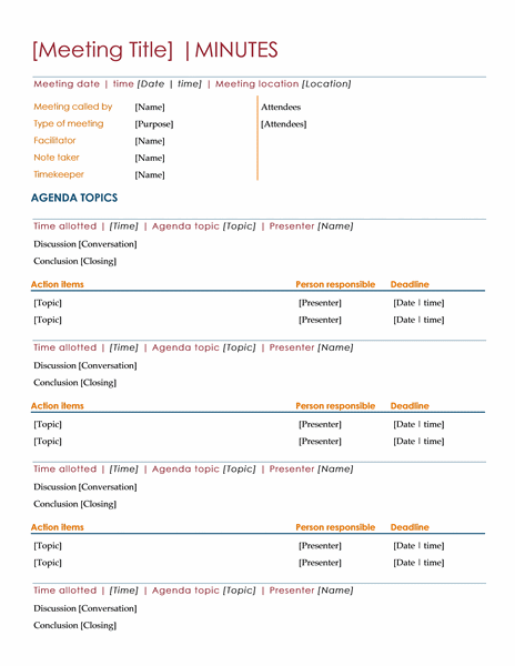 Meeting Minutes Agenda Template Free