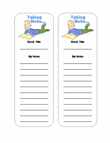 Reading Notes Bookmark