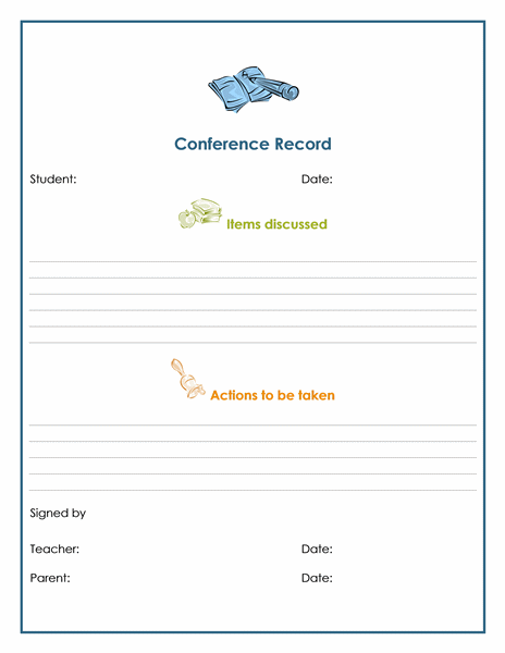 Teacher And Parent Conference Record Notes