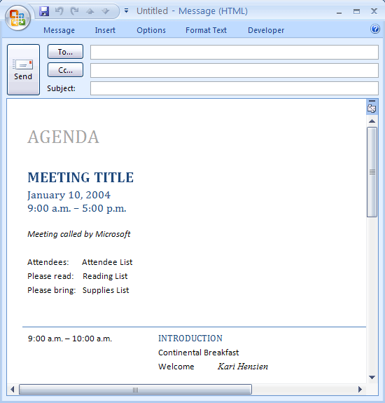 Download ms office e mail message meeting agenda for Outlook meeting minutes template