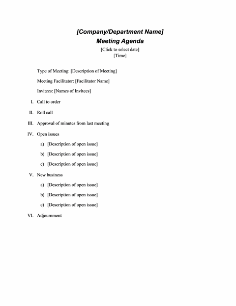 Formal Meeting Agenda Template Doc Format  Agenda For Meeting Template