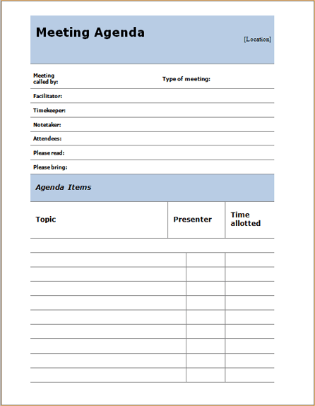 informal meeting agenda sample Template – Template of Meeting Agenda