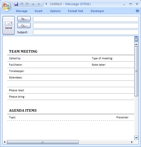 Meeting Agenda For E Mail (informal)  Microsoft Office Meeting Agenda Template