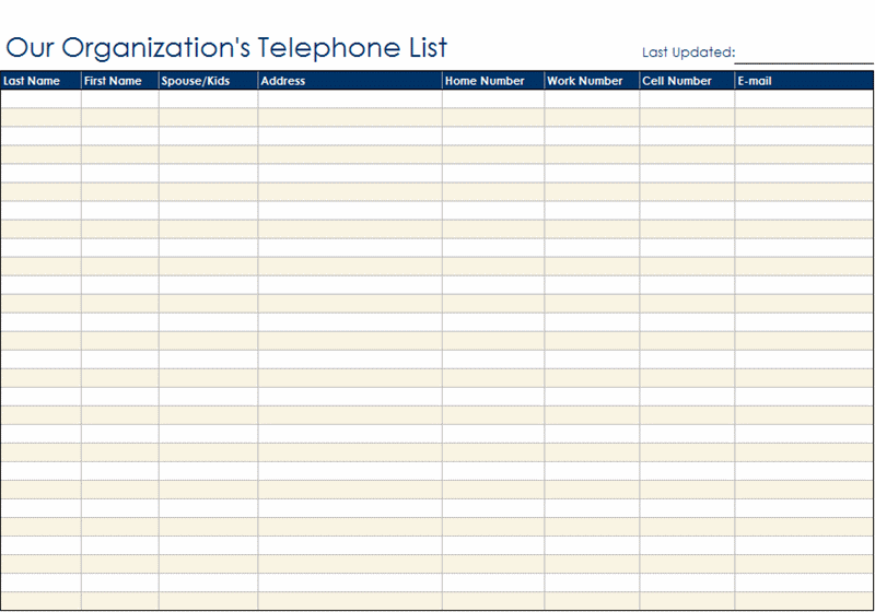 Organizational Telephone List Form Templates. «  Agenda Download Free