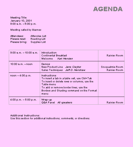 Doc529684 Format for an Agenda Free Meeting Agenda Template – Format for an Agenda