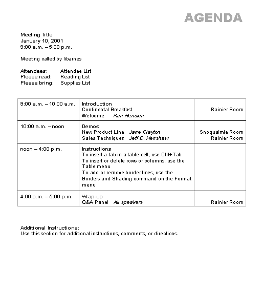 Download Ms Office Agenda wizard Conference Meeting Agenda and – Agenda Templates Word