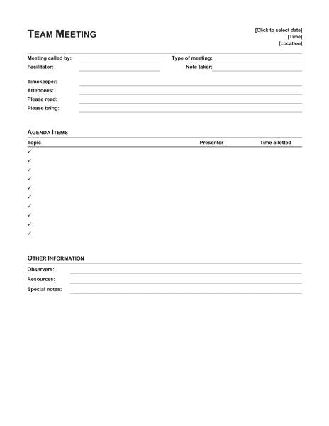 ms office agenda template